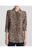 Equipment Leopard Print Slim Signature Jewel Collar Silk Blouse Bloomingdales Exclusive - Lyst