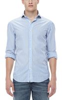 Michael Bastian Woven Striped Sport Shirt Denim Blue - Lyst
