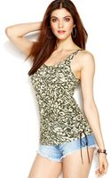Guess Laceup Camoprint Tank Top - Lyst
