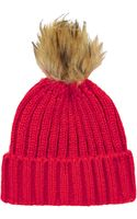 Topshop Pom Ribbed Beanie - Red - Lyst
