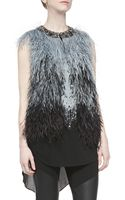 Haute Hippie Ostrich Feather Vest with Embellished Neck - Lyst