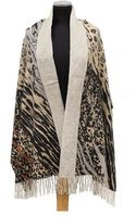 La Fiorentina Natural Combo Animal Print Reversible To Solid Wool Wrap - Lyst