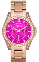 Fossil Womens Riley Rose Goldtone Stainless Steel Bracelet Watch 38mm - Lyst
