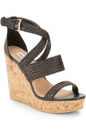 Steve Madden Slippie Braidedpleather Wedge Sandals - Lyst