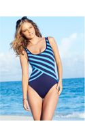 DKNY Striped One-piece Swimsuit - Lyst