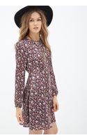 Forever 21 Floral Print Satin Dress - Lyst