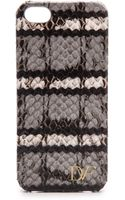 Diane Von Furstenberg Iphone 5 5s Striped Snake Case Flintblackwhite - Lyst