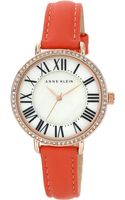 Anne Klein Ladies Rose Goldtone Swarovski Crystal Watch with Leather Strap - Lyst