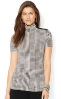 Lauren by Ralph Lauren Petite Short-sleeve Plaid Turtleneck Top - Lyst