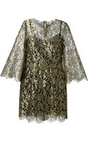 Dolce & Gabbana Metallic Floral Lace Dress - Lyst