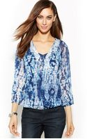 Inc International Concepts Embellished Printed Peasant Blouse - Lyst