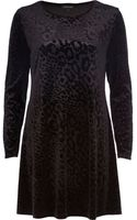 River Island Black Animal Print Devore Swing Dress - Lyst