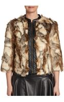 Twelfth Street By Cynthia Vincent Faux Leather Trimmed Faux Fur Jacket - Lyst