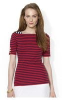 Lauren by Ralph Lauren Square Neck Striped Shirt - Lyst