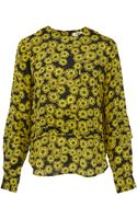 YMC Yellow Dandelion Print Pleated Silk Top - Lyst