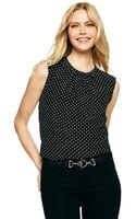 C. Wonder Silk Sleeveless Polka Dot Blouse - Lyst