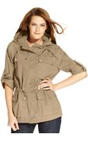 Michael Kors Cotton Drawstring Hooded Anorak - Lyst