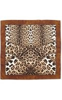 Roberto Cavalli Leopardprint Silk Scarf Brown - Lyst