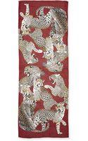 Roberto Cavalli Leopard Printed Silk Wrap Burgundymulti - Lyst