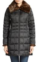 Laundry By Shelli Segal Faux Fur Trim Wing Collar Puffer - Lyst