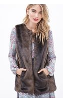 Forever 21 Collarless Faux Fur Vest - Lyst