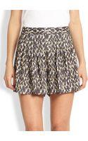 Halston Heritage Silk Patterned Shorts - Lyst