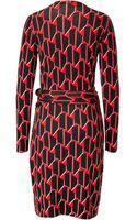 Diane Von Furstenberg Linda Dress in Hounds Check Small Red - Lyst