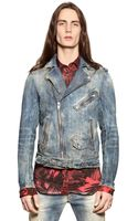 Diesel Vintage Effect Cotton Denim Biker Jacket - Lyst