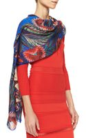 Roberto Cavalli Psychedelicprint Wrap Red Pattern - Lyst