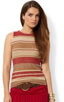 Lauren by Ralph Lauren Petite Sleeveless Striped Sweater - Lyst