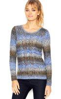 Kensie Long-sleeve Scoop-neck Gradient-knit Sweater - Lyst
