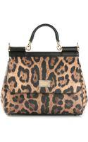Dolce & Gabbana Small Sicily Leopard Print Tote - Lyst
