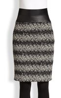 Akris Punto Faux Leathertrimmed Tweed Pencil Skirt - Lyst