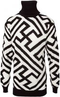 Ktz Knitted High Neck Geometric Jumper Blackwhite - Lyst