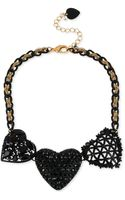 Betsey Johnson Goldtone Black Three Heart Frontal Necklace - Lyst
