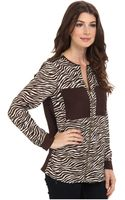 Michael by Michael Kors Savannah Zebra Ls Oversized Blouse - Lyst