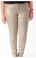 Forever 21 Metallic Animal Print Skinny Jeans - Lyst