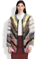 Elizabeth And James Terra Striped Rabbit Coyote Fur Coat - Lyst