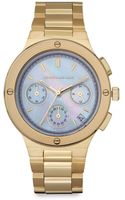 Kenneth Jay Lane Goldtone Stainless Steel Motherofpearl Dial Chronograph Watch - Lyst