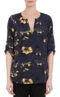 Barneys New York Floral Print Tunic Blouse - Lyst