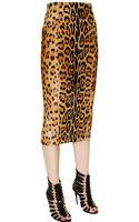Balmain Leopard Printed Ponyskin Pencil Skirt - Lyst