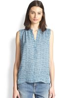 Vince Silk Staticprint Top - Lyst