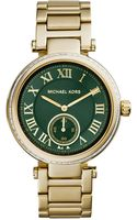 Michael Kors Midsize Golden Stainless Steel Skylar Threehand Glitz Watch - Lyst