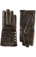 Valentino Black Leather Studded Gloves - Lyst