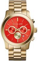 Michael Kors Oversize Golden Stainless Steel Runway Chronograph Watch - Lyst