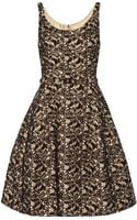 Oscar de la Renta Appliquãd Lace and Rabbit Feltblend Dress - Lyst