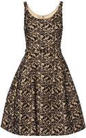 Oscar de la Renta Appliquãd Lace and Rabbit Feltblend Dress - Lyst