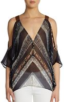 Twelfth Street by Cynthia Vincent Printed Cold Shoulder Silk Blouse - Lyst