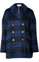 RED Valentino Wool Blend Plaid Coat - Lyst