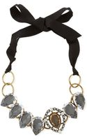 Lanvin Short Ribbon Necklace with Crystal Bib - Lyst